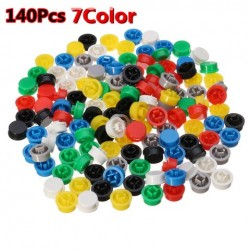 140st 7 Ronde Mixed Color Tactile Button Caps Kit voor 12x12x7.3mm Tact Switch