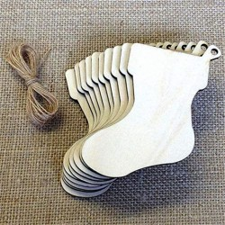 10 Stks Blank Christmas Stocking Houtsnippersplaat Opknoping Tags Uitsparing Lasergravure Houten DIY