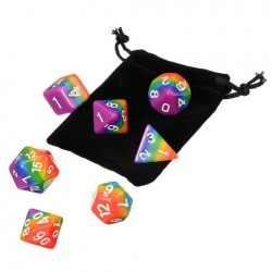 7Pcs Rainbow Dices Set Multisided Dices Polyhedral Dices Role Playing Game Gadget
