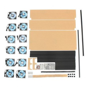 Open Air Mining Frame Rig 14 GPU stapelbare behuizing met 12 LED-fans voor ETH ZCash