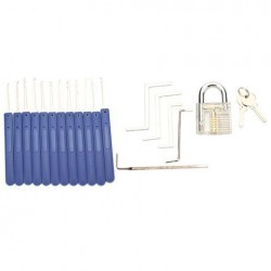 12st Blauw Handle Ontgrendelen Lock Pick Set Key Extractor Tool Met Transparante Practice Hangsloten Lock Pick Tools