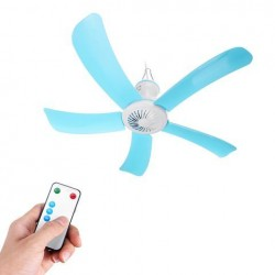 Portable 5 Blades Mini Ceiling Fan W/ Remote Control Hanging Summer Cooler Gift Dia. 71cm