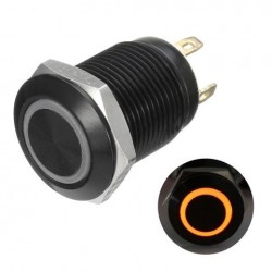 12v 4-pins 12mm Led Light Metal push-knop Momentaire Switch Waterproof Black