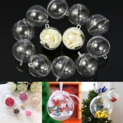 12pcs 60mm Clear Plastic Fillable Ball Xmas Ornament Great Kid Craft Project Decorations