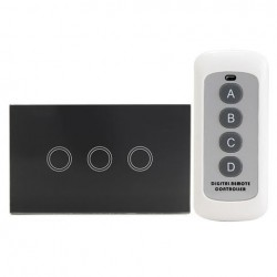 1 Way 3 Gang Crystal Glass Remote Panel Touch LED Light Switches Controller