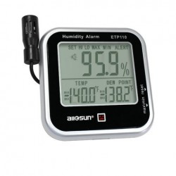 ALL SUN ETP110 Digitale Indoor Thermo-Hygrometer Humidity and Temperature Monitor Alarm Grote LCD-display dauwpunttester