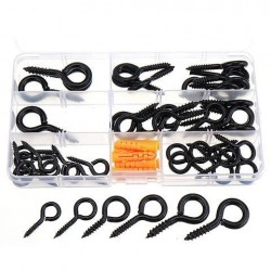 44Pcs Screw Eyes Zinc Plated Self Tapping Thread Eye Bolt Ring Hooks With Expansion Pipe Black