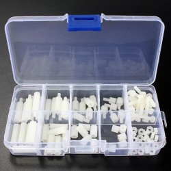 88pcs M3 Nylon Wit MF Hex Spacers Schroef Nut Assortiment Kit